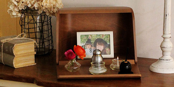 洋風ミニ仏壇セット_やさしい時間 祈りの手箱(ブラウンセット)