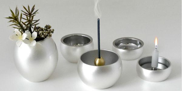 ミニミニ仏具5点セット(お線香立て・ロウソク立て・花立て・仏飯器・茶湯器)