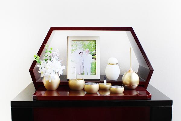 ミニ仏壇 祈りのステージ風 お得なセットプラン1(茜・ミニミニ仏具・チェリン)