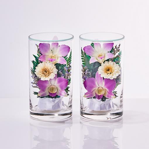 お供えフラワーアレンジ グラスフラワーS(紫・2個セット)