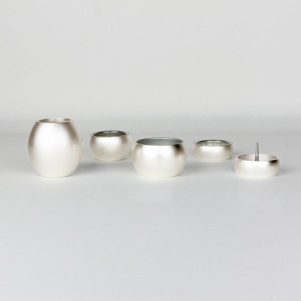 五具足|仏具5点セット|ミニミニ仏具・銀(線香立て・ローソク立て・花立て・仏飯器・茶湯器)