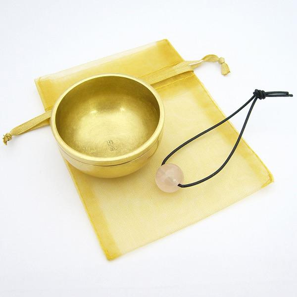 手元供養ミニ仏壇のおりん|携帯おりん(真鍮・天然石ローズクォーツ)