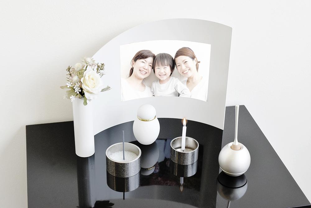 モダンなミニ仏壇セット|アリーナ・ピュアホワイト(セットプラン1)