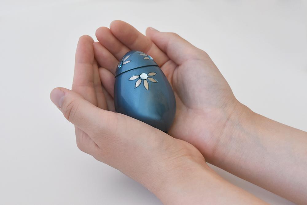 ミニ骨壷・グランブルー(シャインフラワー)