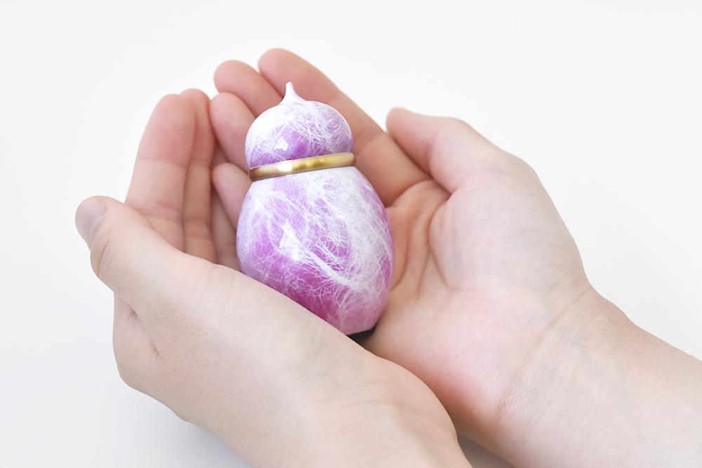ミニ骨壷|宝珠シリーズ|浅紫(真鍮製)
