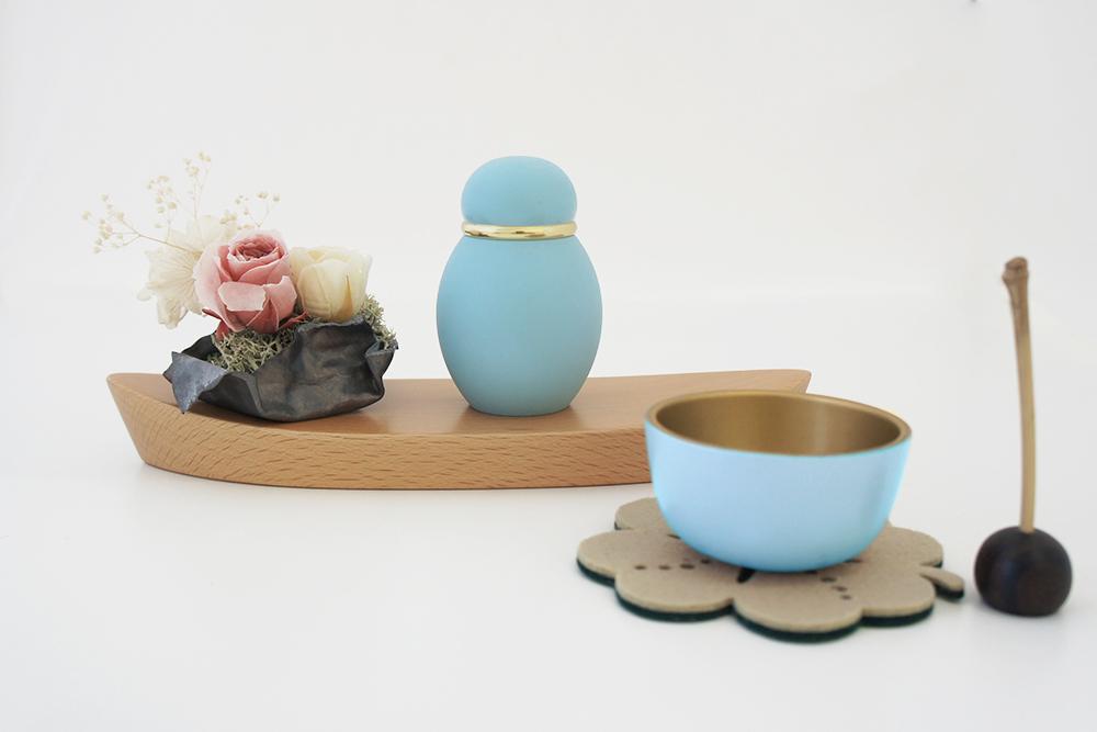 ミニ骨壷|パステル|ブルー(真鍮製)