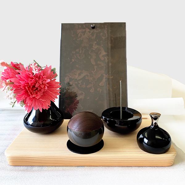 おしゃれなミニ仏壇セット ピクスタル(ブラックセット)
