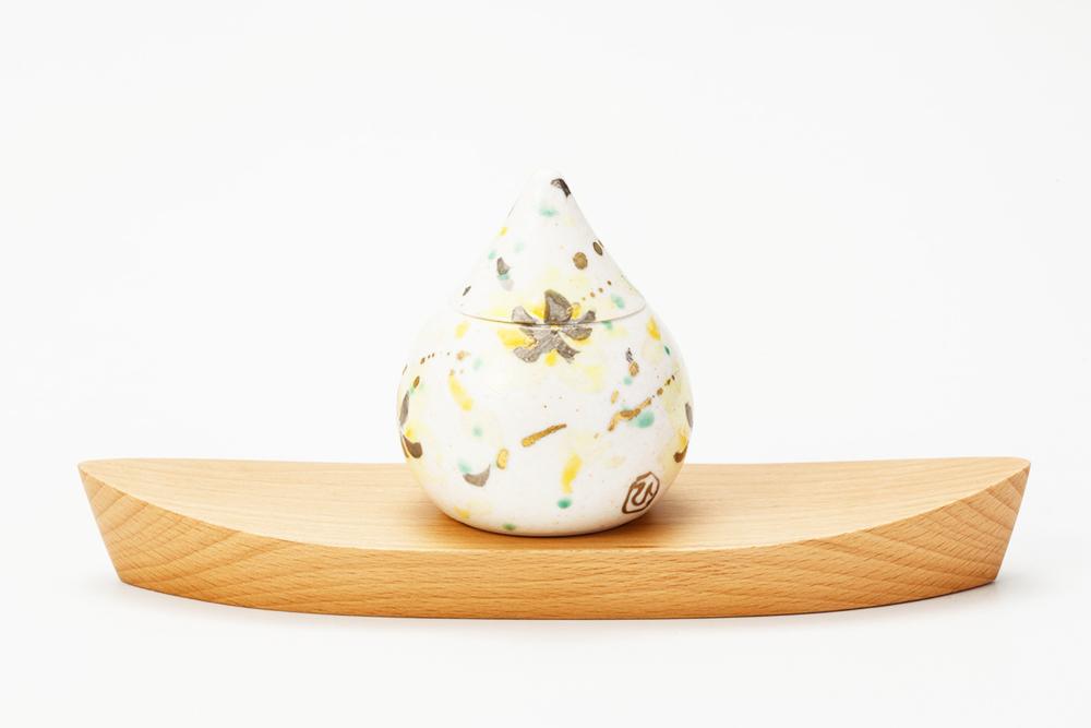 ミニ骨壷|蕾・花シリーズ|金桜(豊泉窯・磁器製)